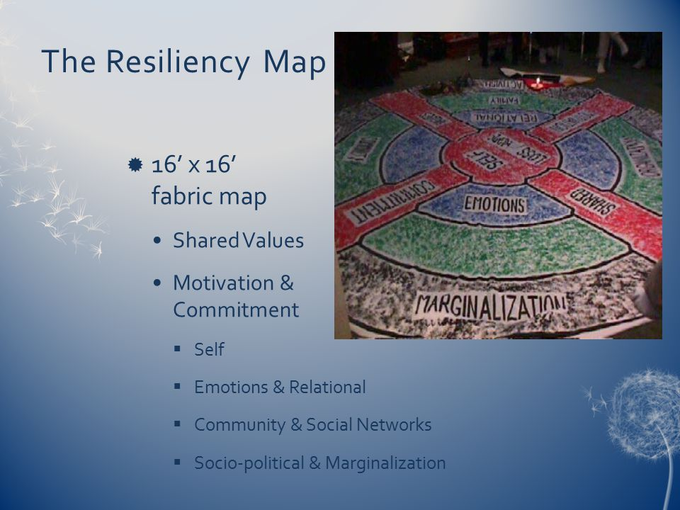 The Resiliency Map  16' x 16' fabric map Shared Values Motivation & Commitment  Self  Emotions & Relational  Community & Social Networks  Socio-political & Marginalization