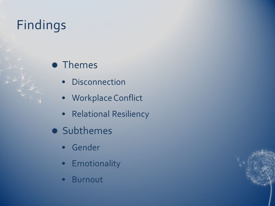 Findings  Themes Disconnection Workplace Conflict Relational Resiliency  Subthemes Gender Emotionality Burnout