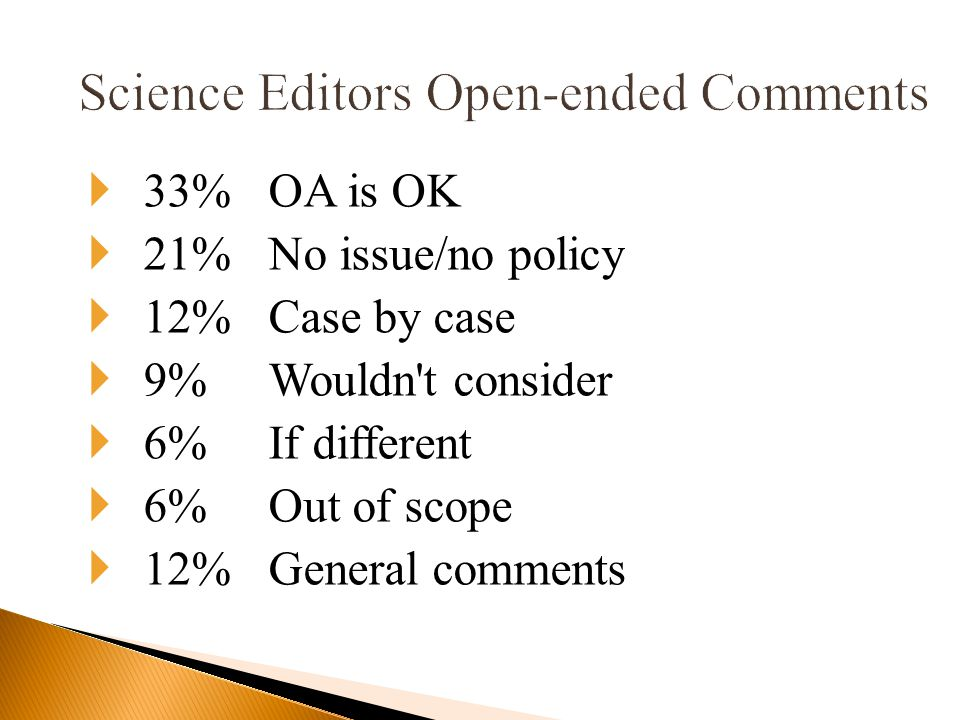  33%OA is OK  21%No issue/no policy  12%Case by case  9%Wouldn t consider  6%If different  6%Out of scope  12%General comments