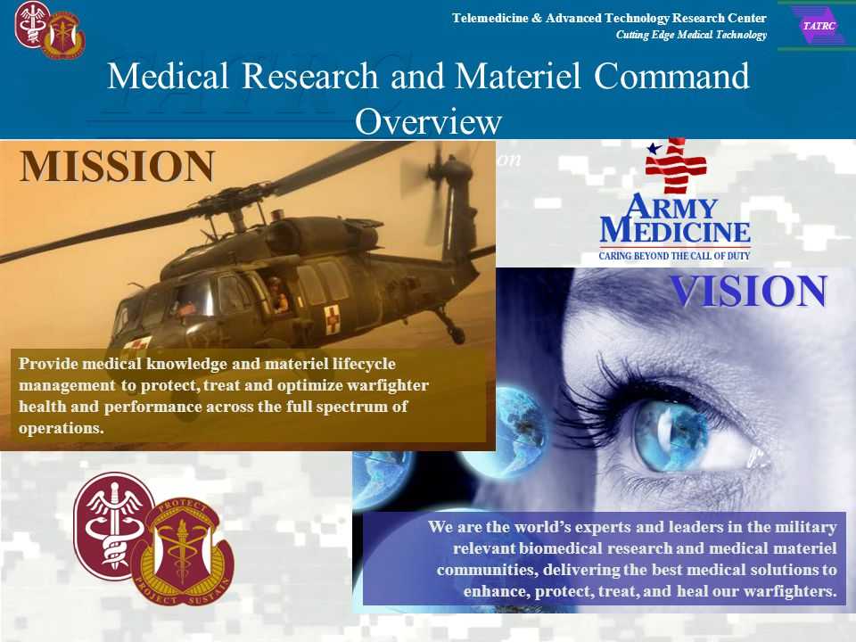 Telemedicine & Advanced Technology Research Center Cutting Edge Medical Technology TATRC Agenda 1.Command Structure/Organization 2.TATRC Background an