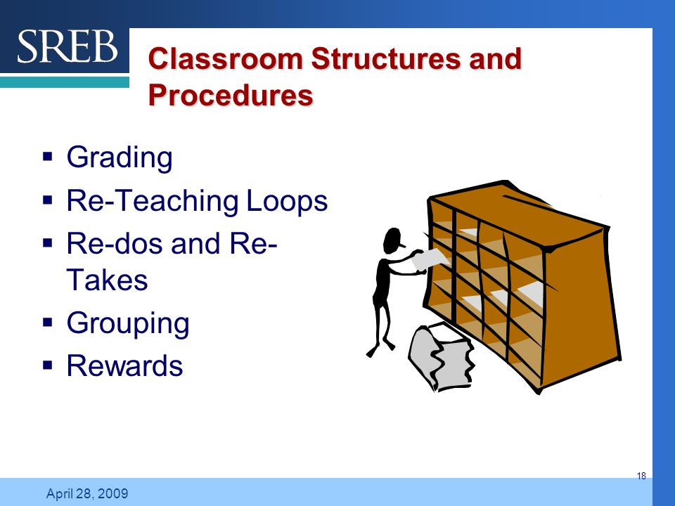 Company LOGO April 28, 2009 18 Classroom Structures and Procedures  Grading  Re-Teaching Loops  Re-dos and Re- Takes  Grouping  Rewards