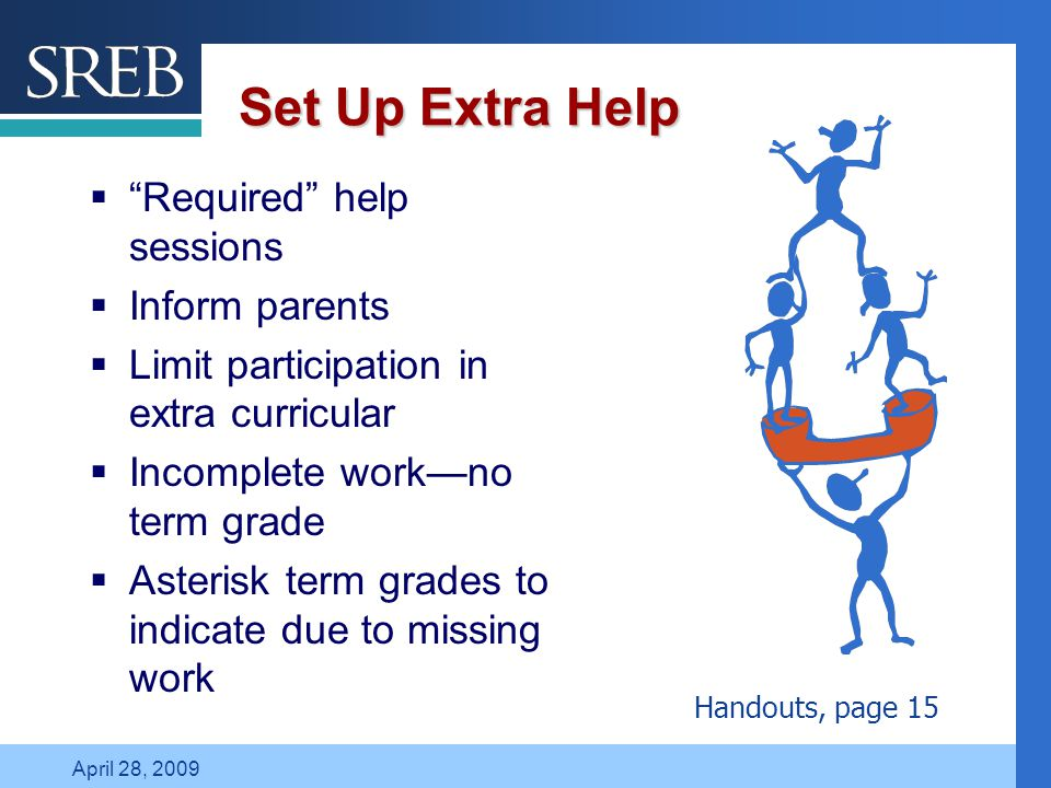 Company LOGO April 28, 2009 Set Up Extra Help  Required help sessions  Inform parents  Limit participation in extra curricular  Incomplete work—no term grade  Asterisk term grades to indicate due to missing work Handouts, page 15