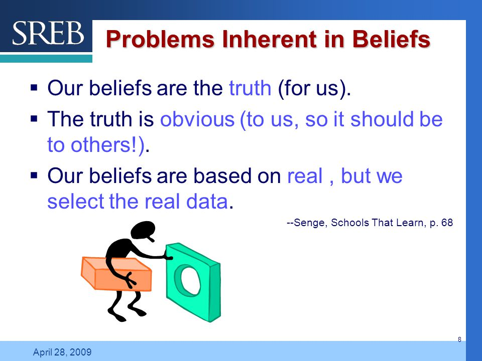 Company LOGO April 28, 2009 8 Problems Inherent in Beliefs  Our beliefs are the truth (for us).  The truth is obvious (to us, so it should be to oth