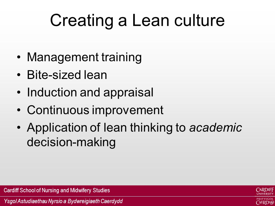Cardiff School of Nursing and Midwifery Studies Ysgol Astudiaethau Nyrsio a Bydwreigiaeth Caerdydd Creating a Lean culture Management training Bite-sized lean Induction and appraisal Continuous improvement Application of lean thinking to academic decision-making