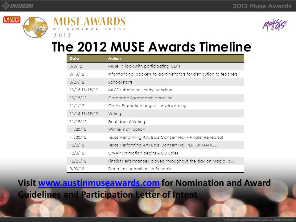 The 2012 MUSE Awards Timeline DateAction 8/8/12Muse 1 st look with participating ISD's 8/13/12Informational packets to administrators for distribution to teachers 8/27/12School starts 10/15-11/15/12MUSE submission (entry) window 10/18/12Corporate Sponsorship deadline 11/1/12On-Air Promotion begins – invites voting 11/15-11/19/12Voting 11/19/12Final day of Voting 11/20/12Winner notification 11/30/12Texas Performing Arts Bass Concert Hall – Finalist Rehearsal 12/2/12Texas Performing Arts Bass Concert Hall PERFORMANCE 12/3/12On-Air Promotion begins – CD Sales 12/25/12Finalist Performances played throughout the day on Magic 95.5 3/30/13Donations submitted to Schools Visit www.austinmuseawards.com for Nomination and Award Guidelines and Participation Letter of Intentwww.austinmuseawards.com