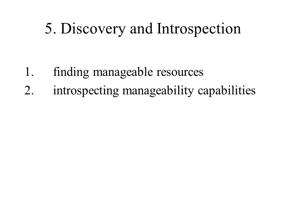 5. Discovery and Introspection 1.finding manageable resources 2.introspecting manageability capabilities