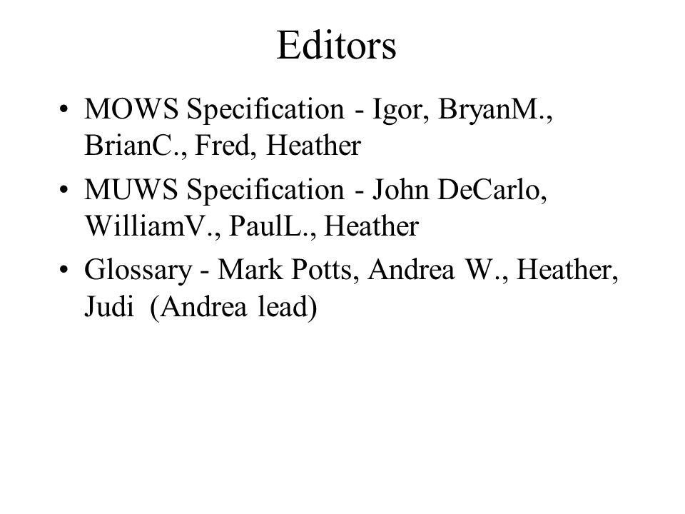 Editors MOWS Specification - Igor, BryanM., BrianC., Fred, Heather MUWS Specification - John DeCarlo, WilliamV., PaulL., Heather Glossary - Mark Potts, Andrea W., Heather, Judi (Andrea lead)