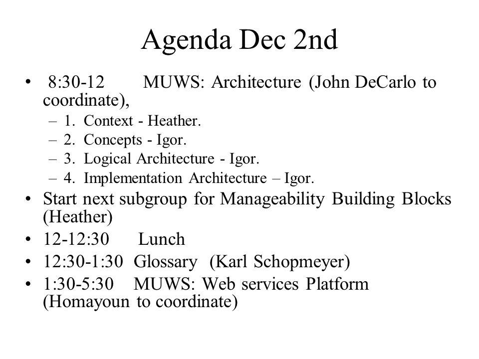 Agenda Dec 2nd 8:30-12 MUWS: Architecture (John DeCarlo to coordinate), –1.