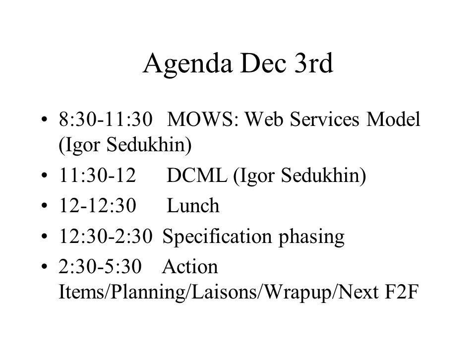 Agenda Dec 3rd 8:30-11:30 MOWS: Web Services Model (Igor Sedukhin) 11:30-12 DCML (Igor Sedukhin) 12-12:30 Lunch 12:30-2:30 Specification phasing 2:30-5:30 Action Items/Planning/Laisons/Wrapup/Next F2F