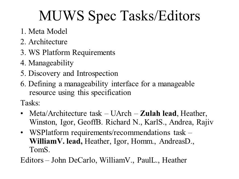 MUWS Spec Tasks/Editors 1. Meta Model 2. Architecture 3.