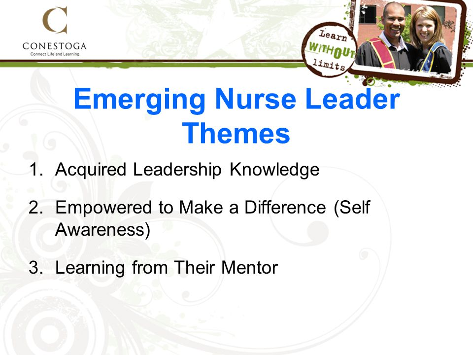 Emerging Nurse Leader Themes 1.Acquired Leadership Knowledge 2.Empowered to Make a Difference (Self Awareness) 3.Learning from Their Mentor