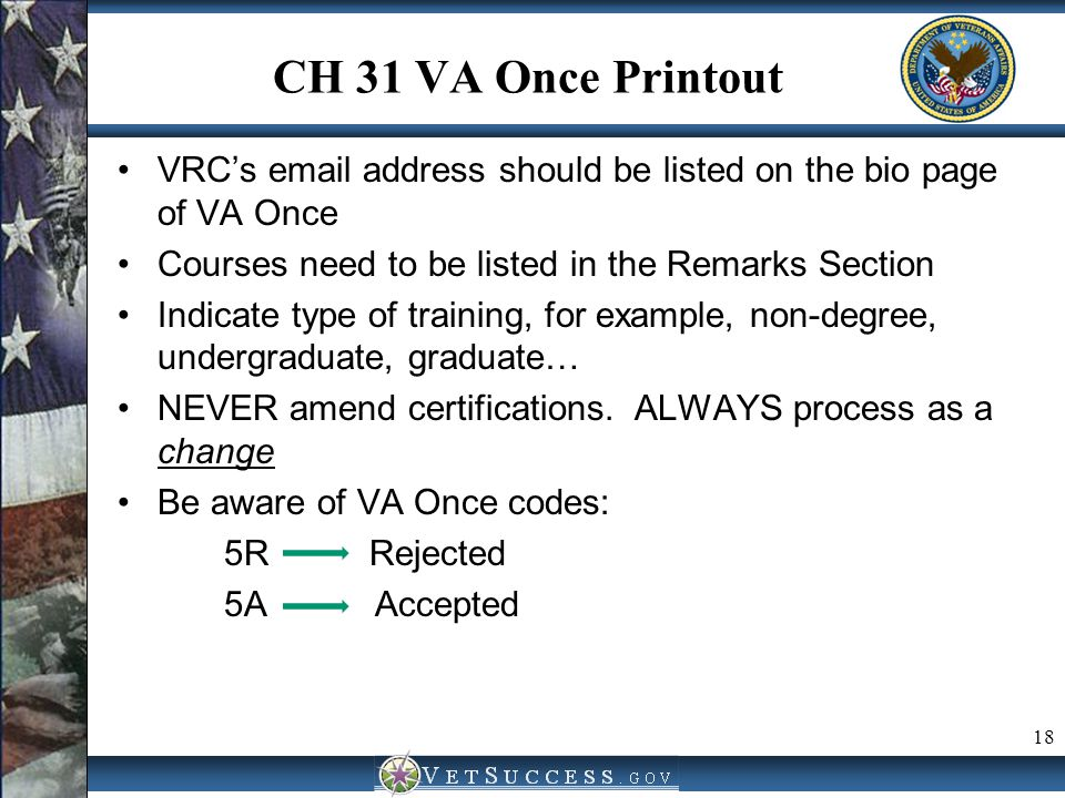 CH 31 VA Once Printout VRC's email address should be listed on the bio page of VA Once Courses need to be listed in the Remarks Section Indicate type