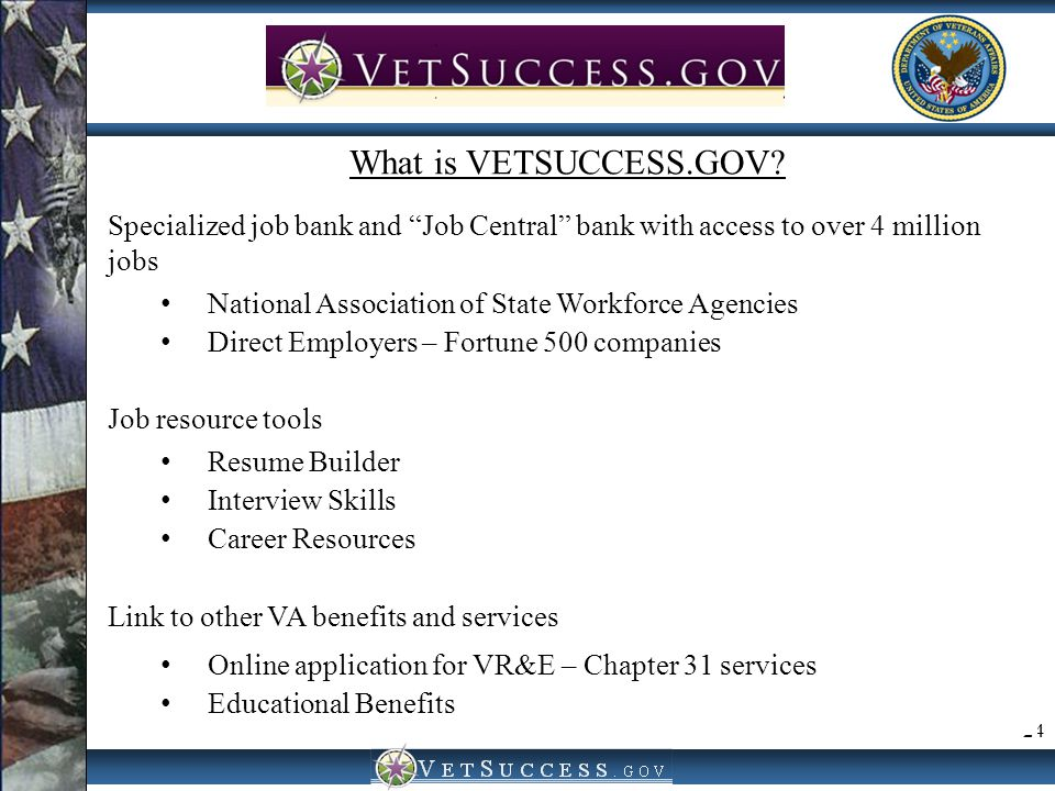 "24 VetSuccess.gov What is VETSUCCESS.GOV? Specialized job bank and ""Job Central"" bank with access to over 4 million jobs National Association of State"