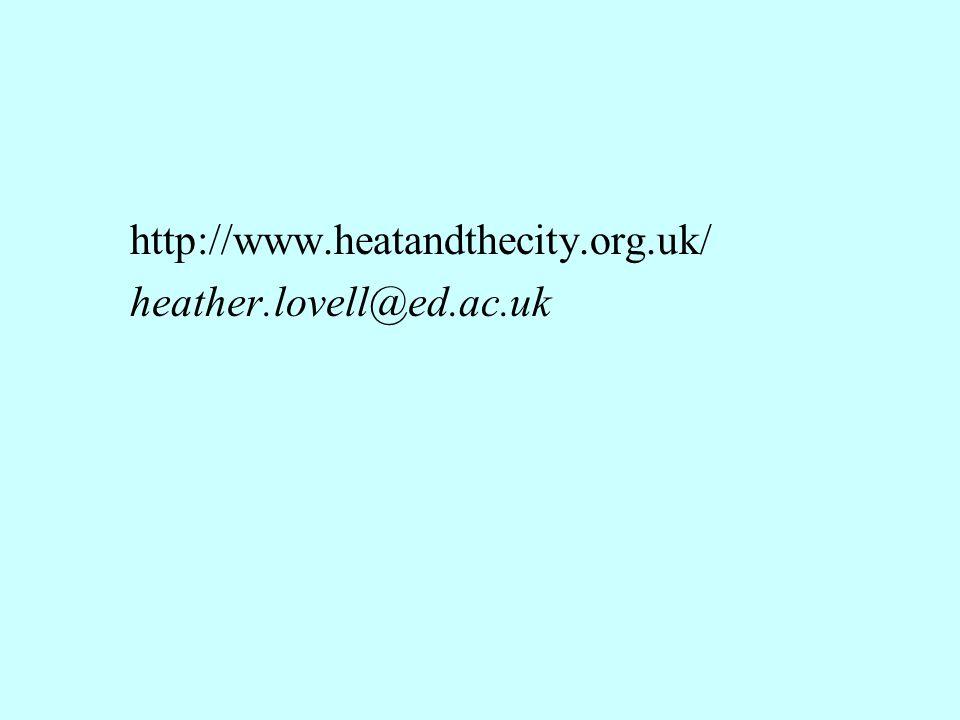 http://www.heatandthecity.org.uk/ heather.lovell@ed.ac.uk