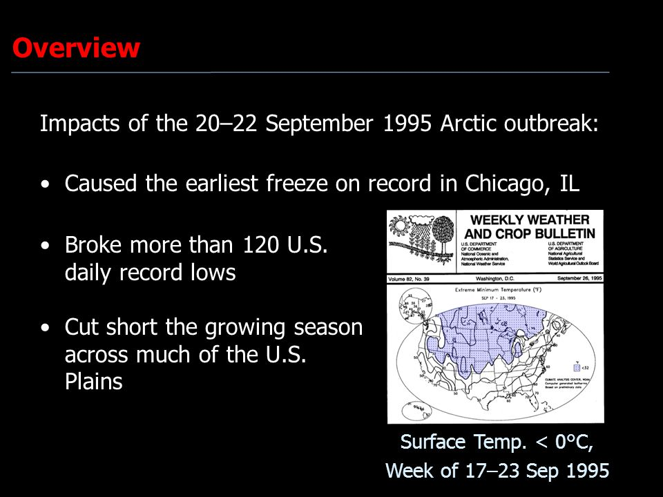 Overview Impacts of the 20–22 September 1995 Arctic outbreak: Caused the earliest freeze on record in Chicago, IL Broke more than 120 U.S. daily recor