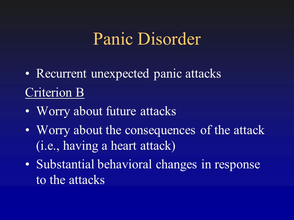 Agoraphobia Anxiety about being in situations related to perceived inability to escape or get help if a panic attack occurs Situations are avoided or endured with significant distress