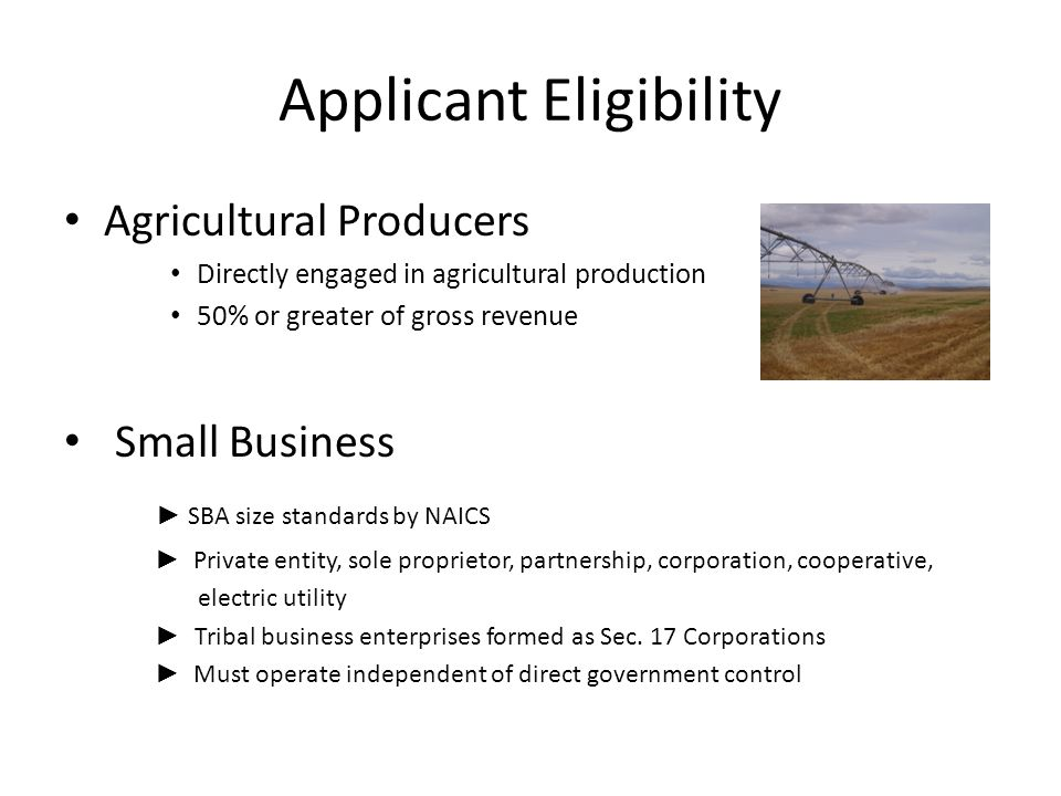 Applicant Eligibility Agricultural Producers Directly engaged in agricultural production 50% or greater of gross revenue Small Business ► SBA size standards by NAICS ► Private entity, sole proprietor, partnership, corporation, cooperative, electric utility ► Tribal business enterprises formed as Sec.