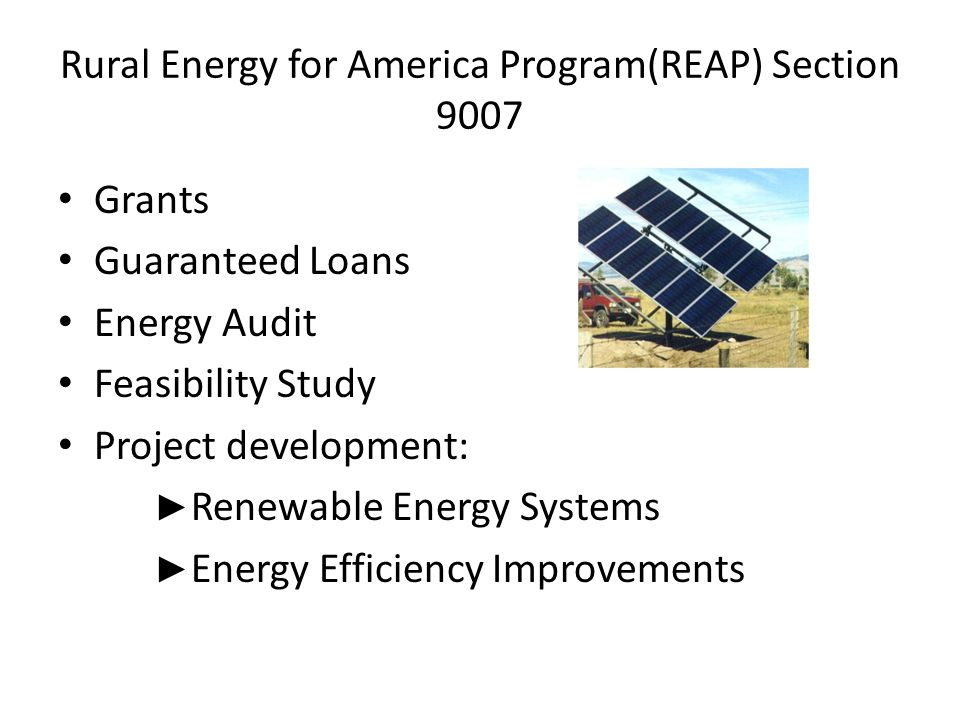 Rural Energy for America Program(REAP) Section 9007 Grants Guaranteed Loans Energy Audit Feasibility Study Project development: ► Renewable Energy Sys
