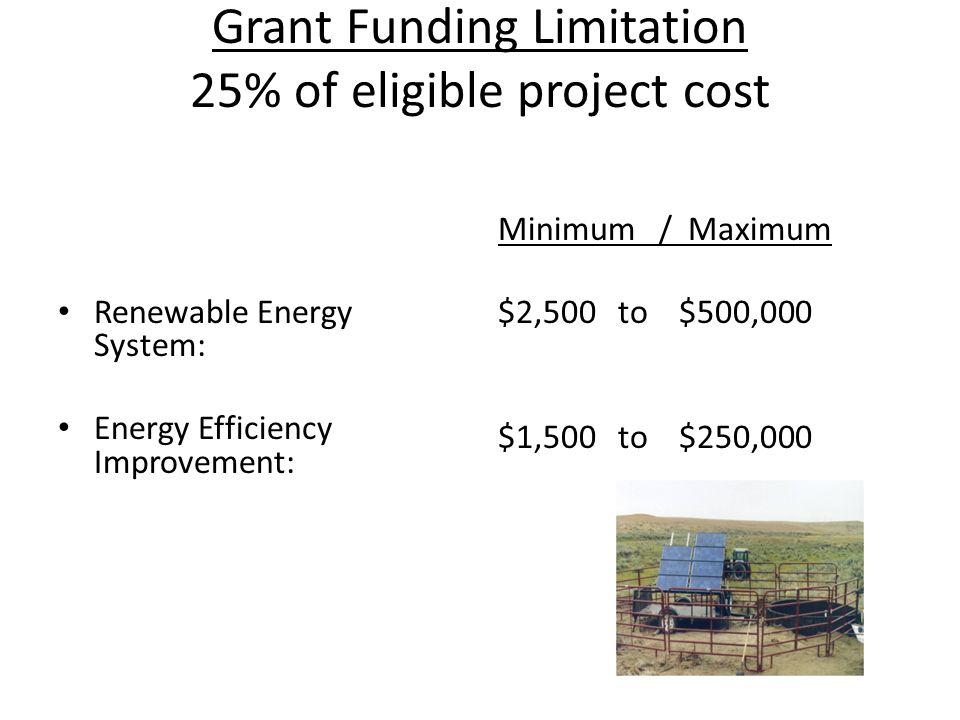 Grant Funding Limitation 25% of eligible project cost Renewable Energy System: Energy Efficiency Improvement: Minimum / Maximum $2,500 to $500,000 $1,