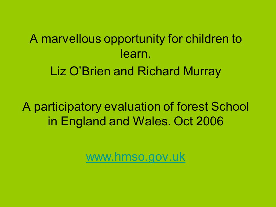 A marvellous opportunity for children to learn.