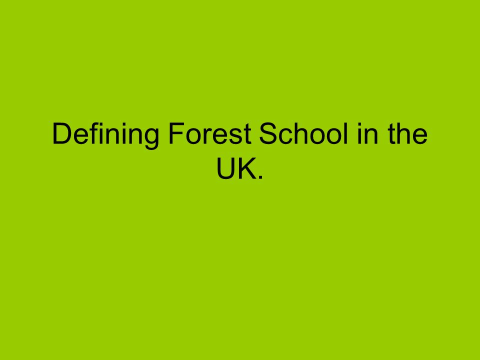 Defining Forest School in the UK.