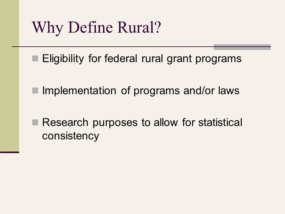 Why Define Rural.