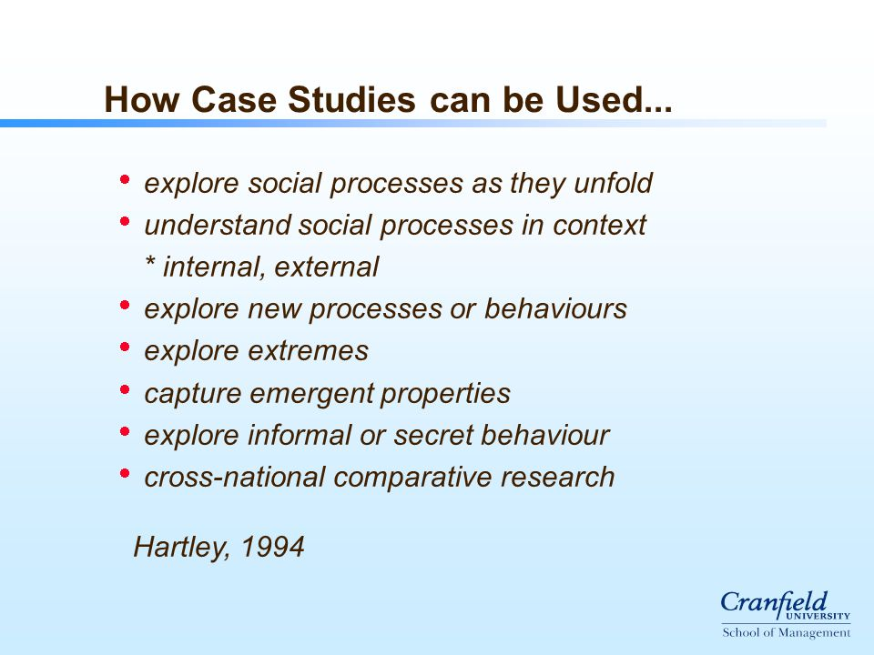 How Case Studies can be Used...