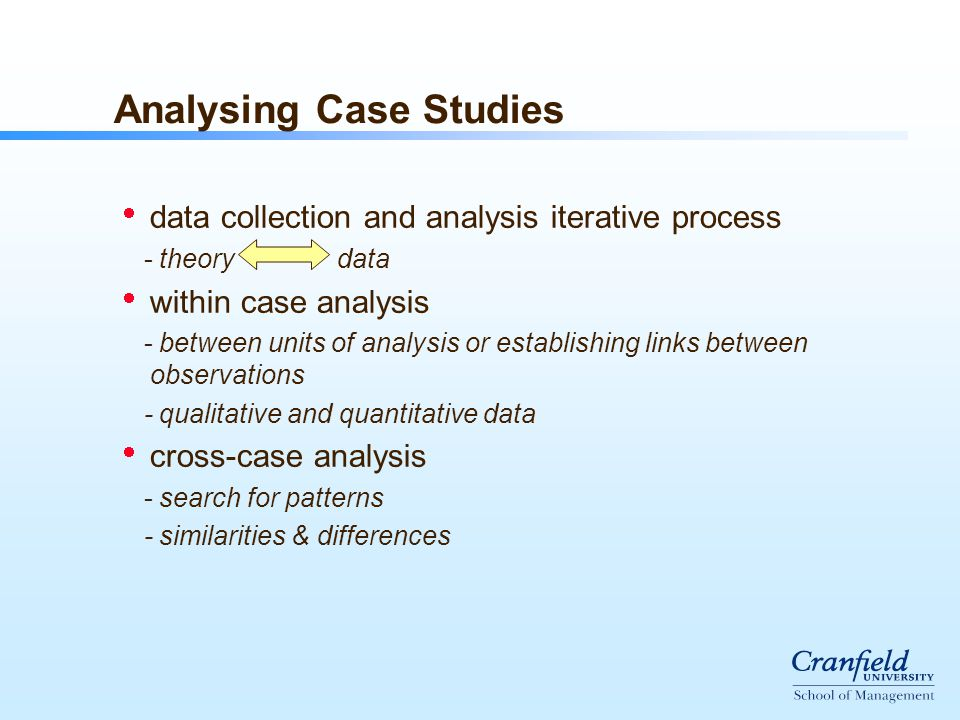 Analysing Case Studies  data collection and analysis iterative process - theory data  within case analysis - between units of analysis or establishing links between observations - qualitative and quantitative data  cross-case analysis - search for patterns - similarities & differences
