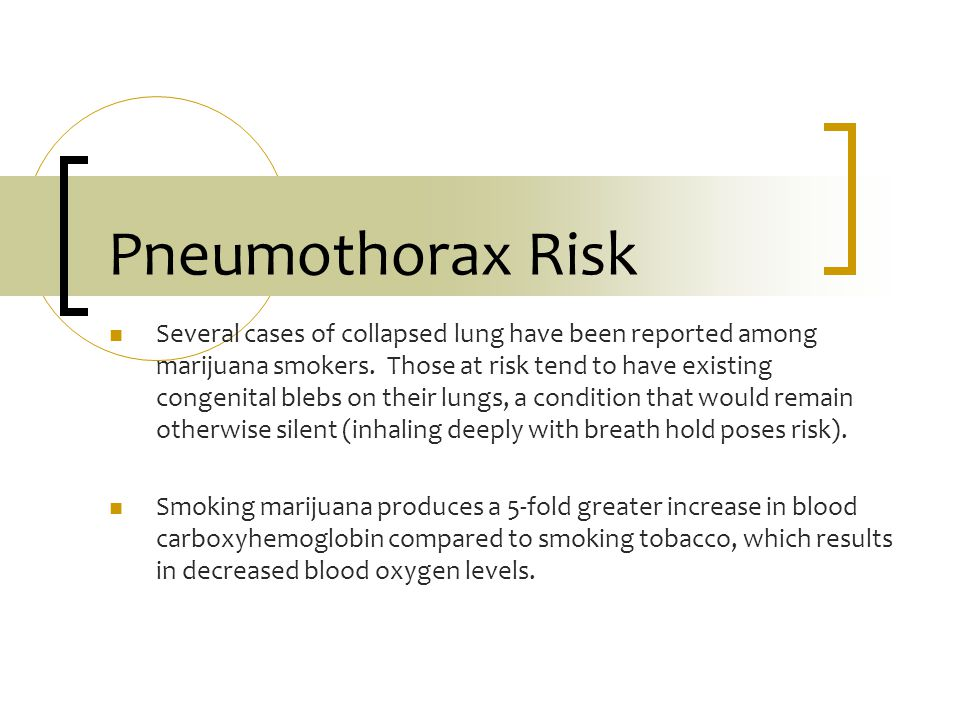 Pneumothorax Risk Several cases of collapsed lung have been reported among marijuana smokers. Those at risk tend to have existing congenital blebs on