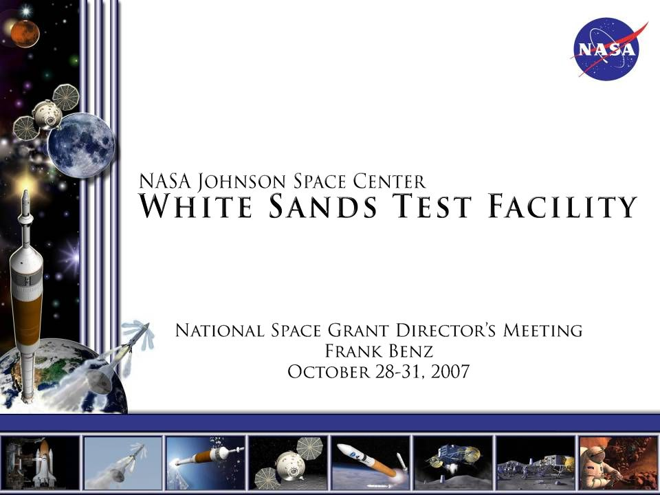 Non-NASA Air Force –Peacekeeper 4 th Stage Demilitarization –Minuteman Upper Stage Life Tests –Mobile Oxygen Storage Tanks Navy –Material Offgassing Tests Army and DOE –Support Services, Cleaning, Calibration Industry –Pratt And Whitney - Engine Development Tests –Aerojet - Engine Tests –SpaceX - Material Oxygen Compatibility Test –Wendell Hull Associates - Material/Components Oxygen Compatibility Test –ASTM G4 Community - Material/Components Oxygen Compatibility Test