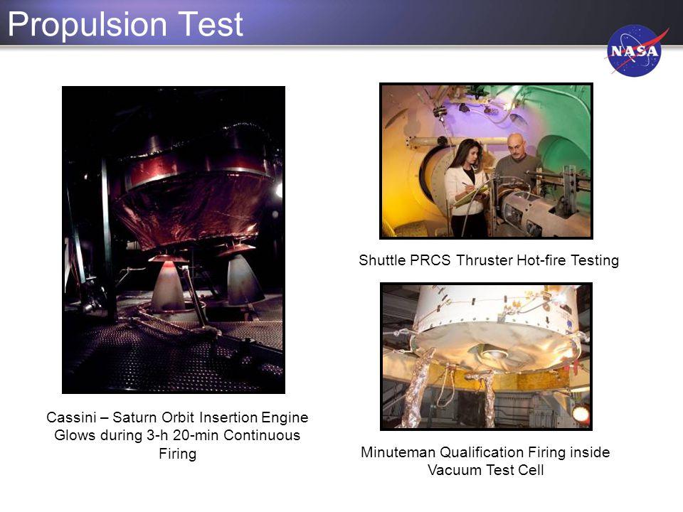 Propulsion Test Cassini – Saturn Orbit Insertion Engine Glows during 3-h 20-min Continuous Firing Minuteman Qualification Firing inside Vacuum Test Ce