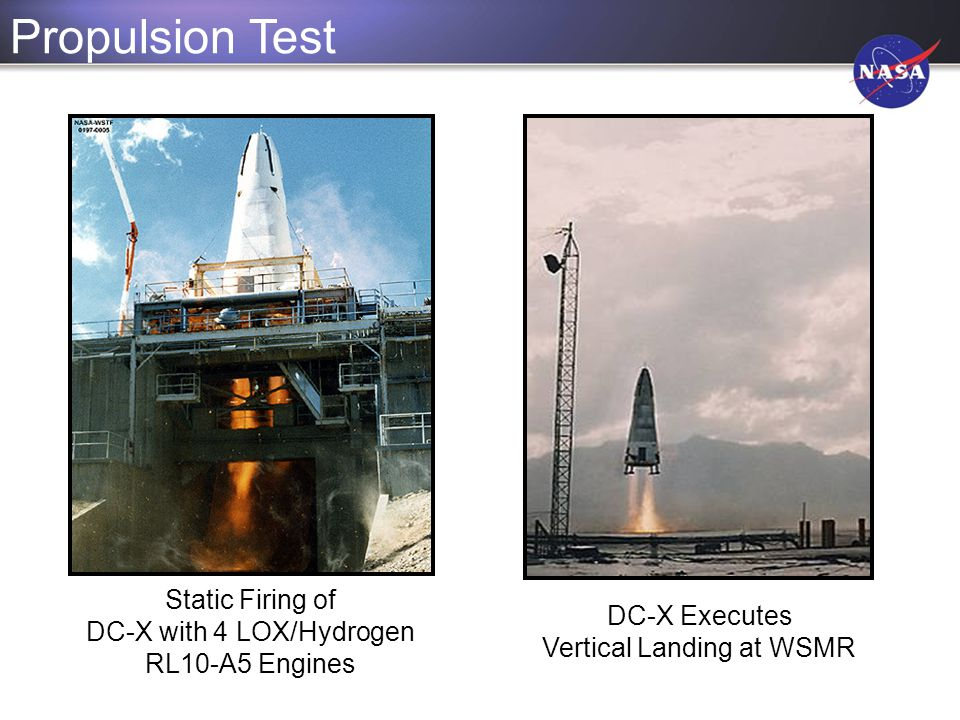 Static Firing of DC-X with 4 LOX/Hydrogen RL10-A5 Engines Propulsion Test DC-X Executes Vertical Landing at WSMR