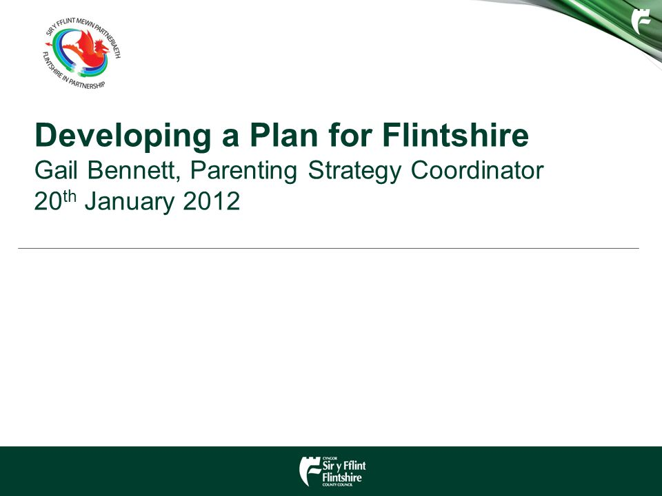 Developing a Plan for Flintshire Gail Bennett, Parenting Strategy Coordinator 20 th January 2012