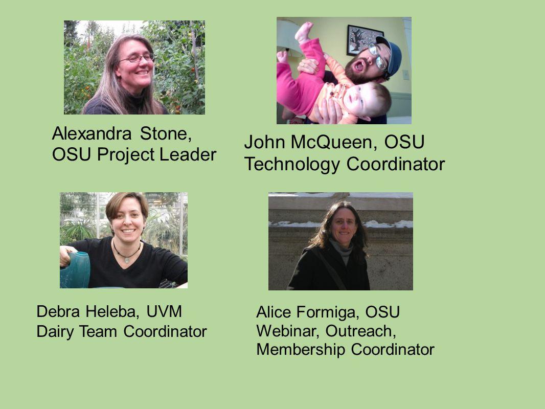 Alice Formiga, OSU Webinar, Outreach, Membership Coordinator Alexandra Stone, OSU Project Leader John McQueen, OSU Technology Coordinator Debra Heleba, UVM Dairy Team Coordinator