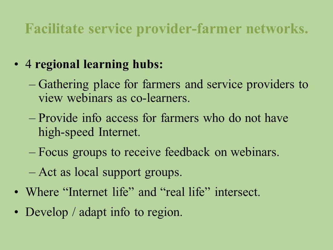 Facilitate service provider-farmer networks.
