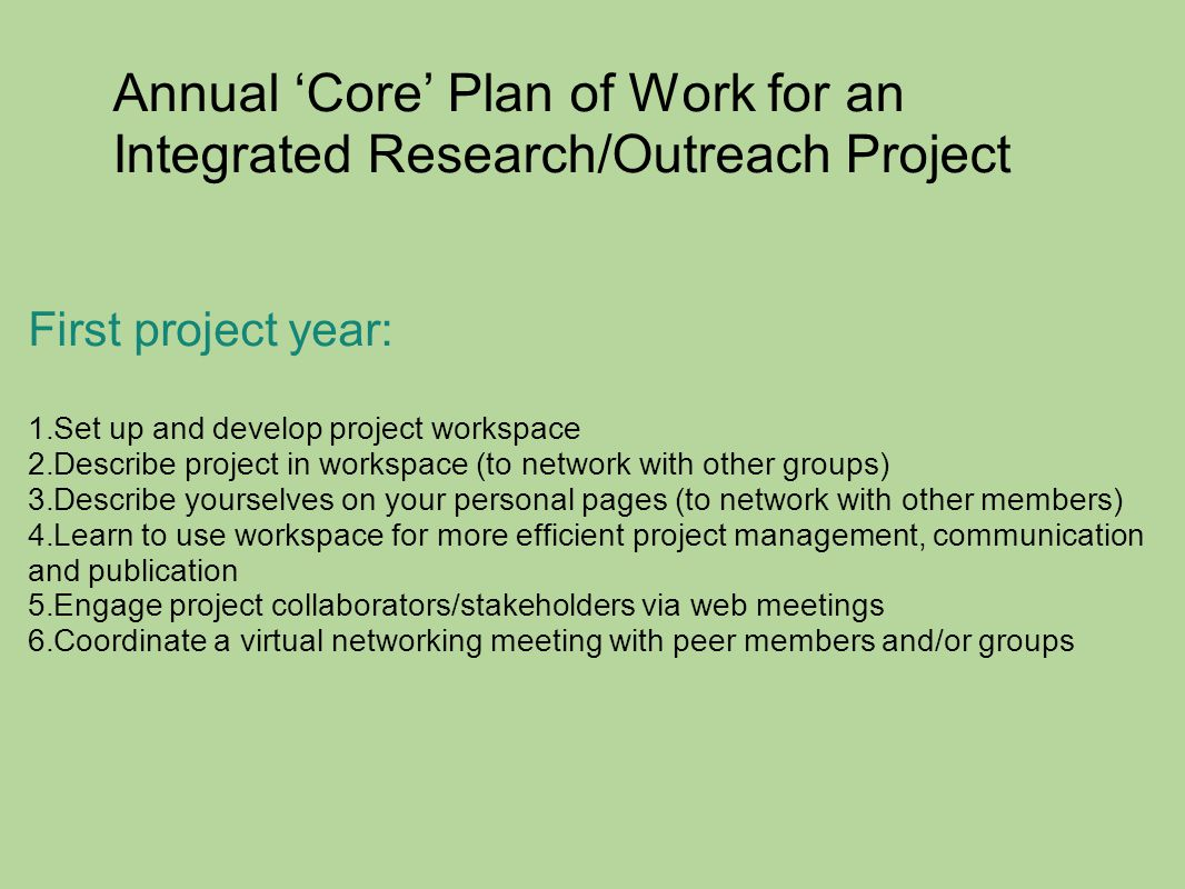 Annual 'Core' Plan of Work for an Integrated Research/Outreach Project First project year: 1.Set up and develop project workspace 2.Describe project i