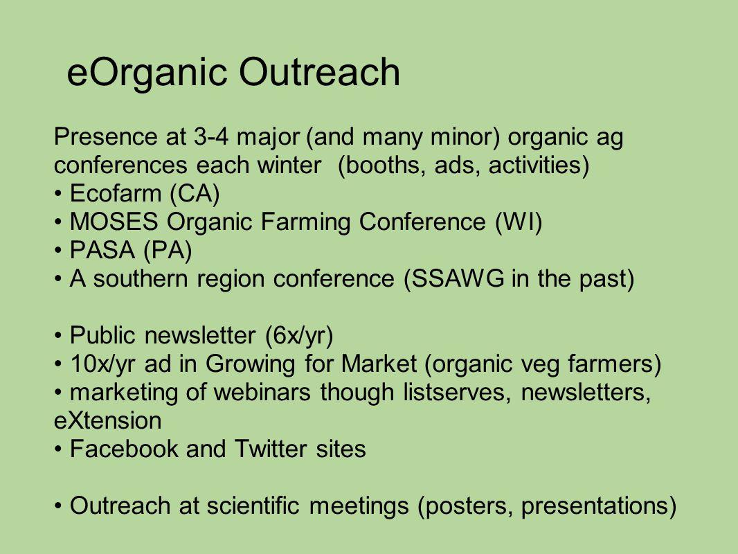 eOrganic Outreach Presence at 3-4 major (and many minor) organic ag conferences each winter (booths, ads, activities) Ecofarm (CA) MOSES Organic Farmi