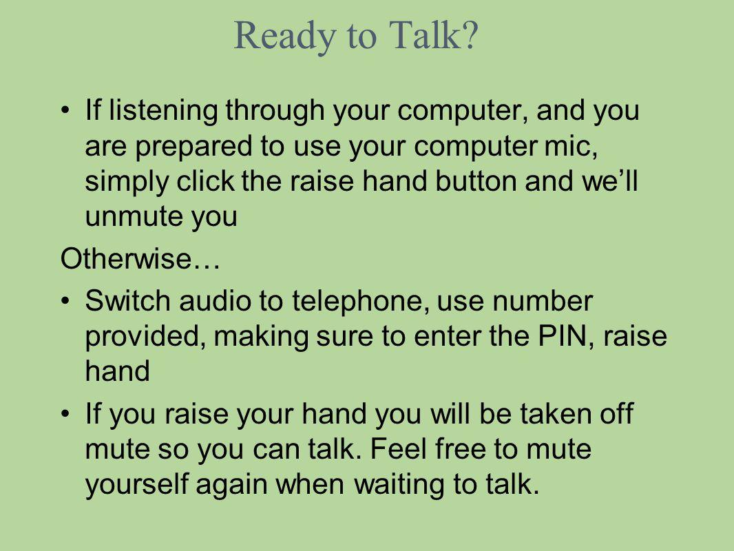 Ready to Talk.