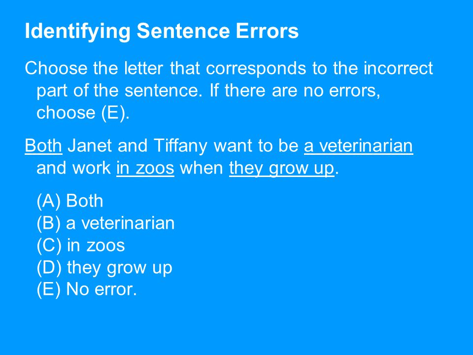 Identifying Sentence Errors Choose the letter that corresponds to the incorrect part of the sentence.