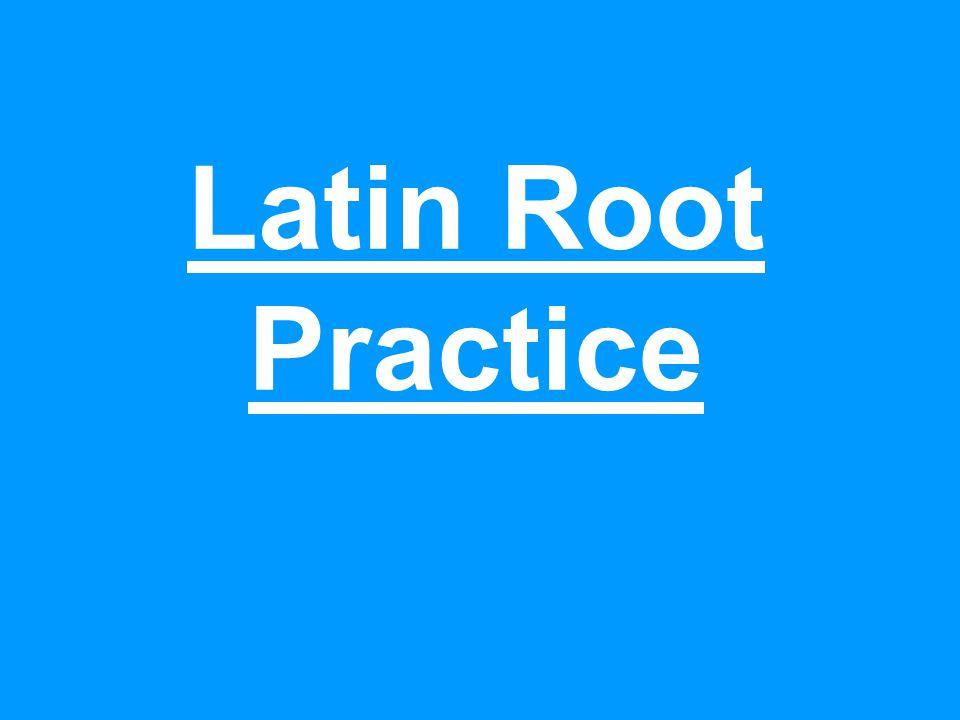 Latin Root Practice