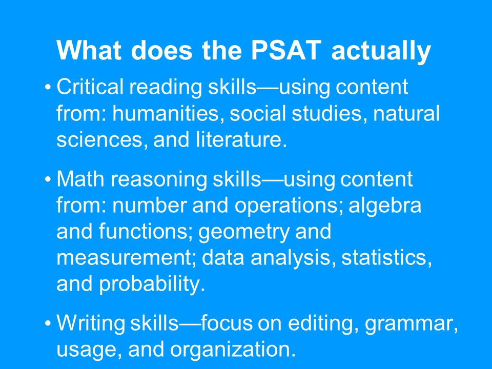 What does the PSAT actually test.