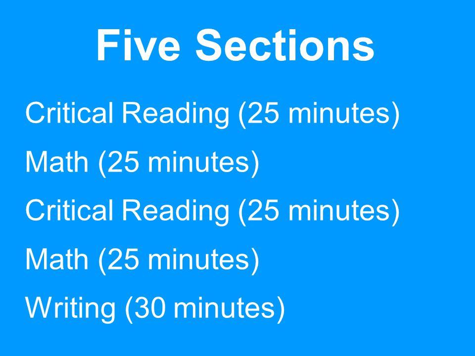PSAT Critical Reading Questions 13 Sentence Completions 35 Passage-Based Reading Questions (100- to 800-word passages)