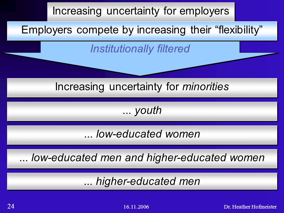 16.11.2006Dr. Heather Hofmeister 24 Institutionally filtered Figure of globalization 2 Increasing uncertainty for employers... low-educated men and hi