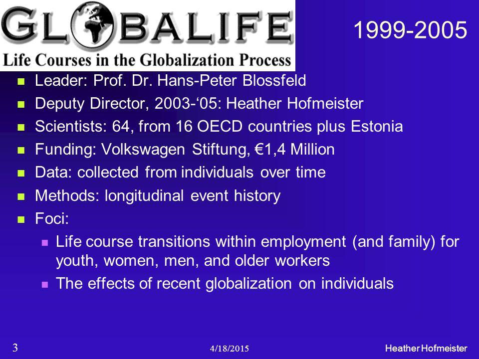 1999-2005 Leader: Prof. Dr. Hans-Peter Blossfeld Deputy Director, 2003-'05: Heather Hofmeister Scientists: 64, from 16 OECD countries plus Estonia Fun
