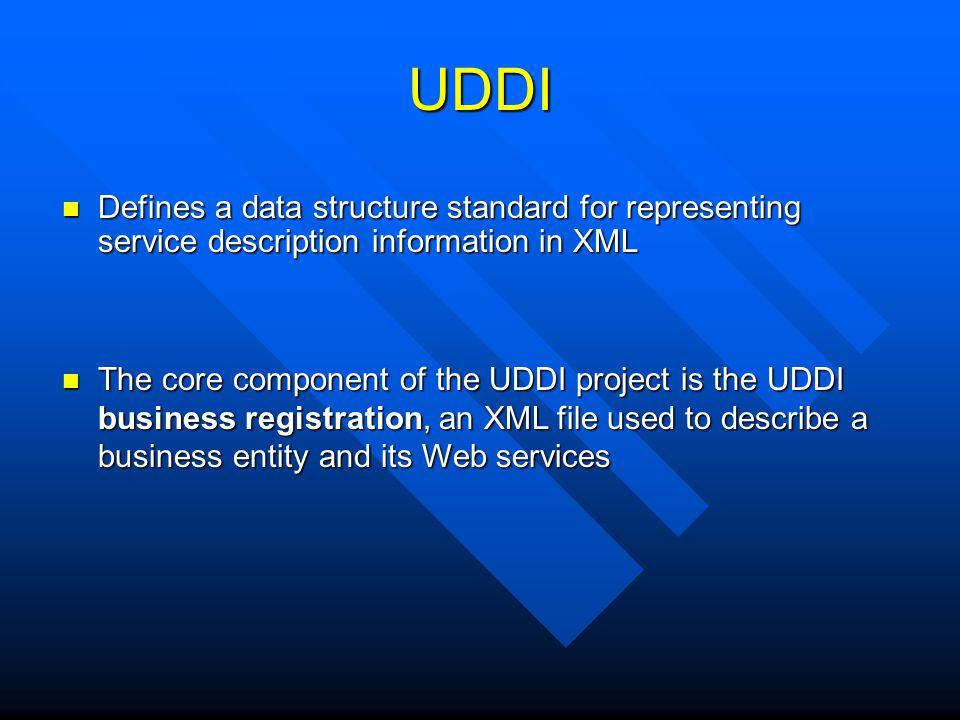 UDDI Defines a data structure standard for representing service description information in XML Defines a data structure standard for representing serv
