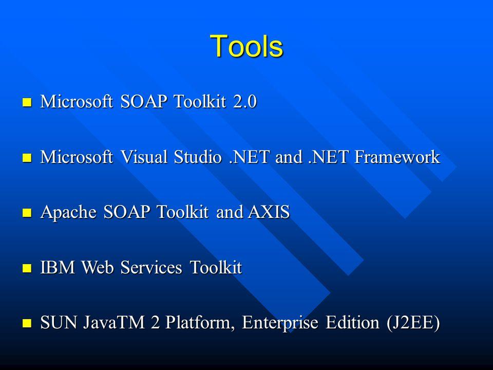 Tools Microsoft SOAP Toolkit 2.0 Microsoft SOAP Toolkit 2.0 Microsoft Visual Studio.NET and.NET Framework Microsoft Visual Studio.NET and.NET Framewor