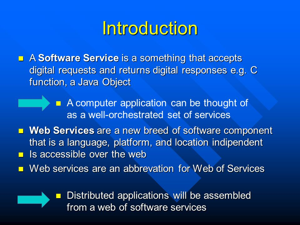 Introduction Is accessible over the web Is accessible over the web Web services are an abbrevation for Web of Services Web services are an abbrevation
