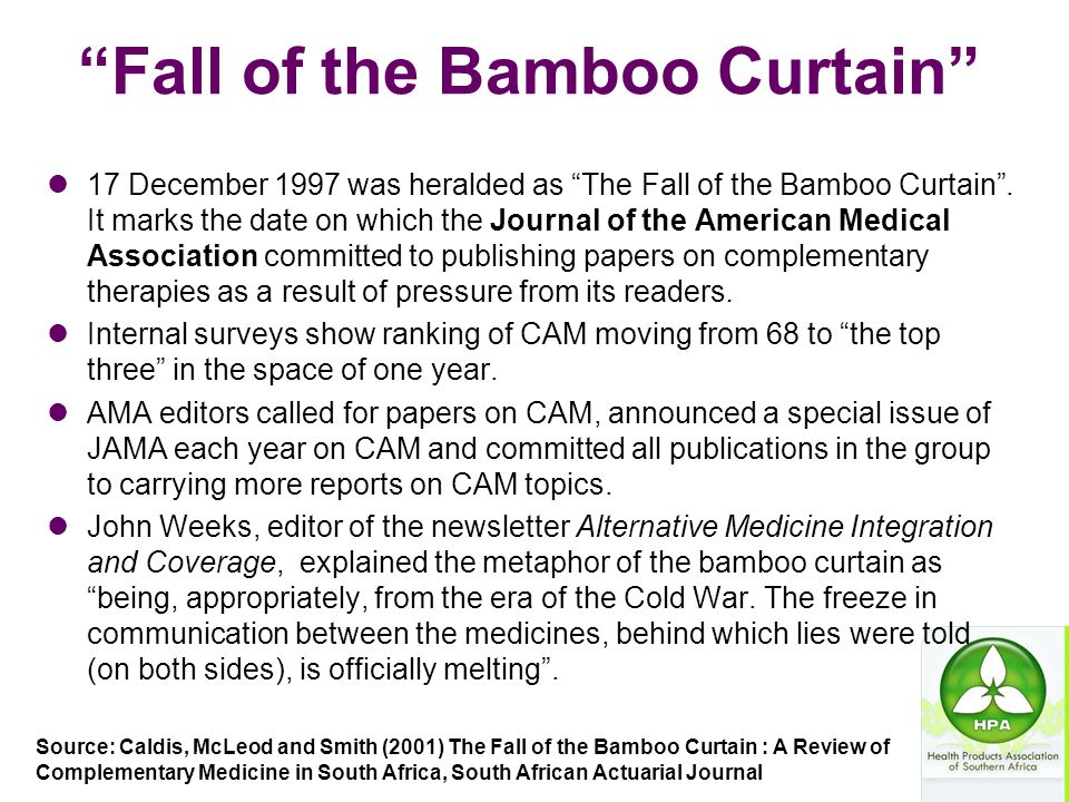 """""""Fall of the Bamboo Curtain"""" 17 December 1997 was heralded as """"The Fall of the Bamboo Curtain"""". It marks the date on which the Journal of the American"""