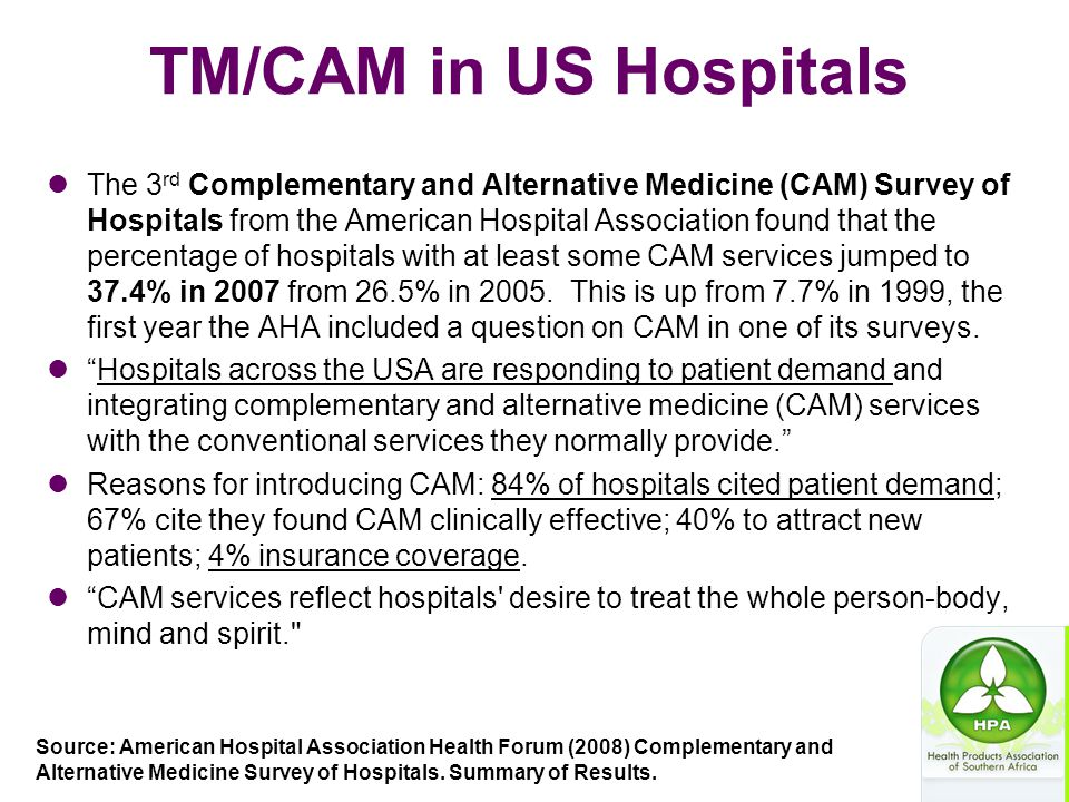 TM/CAM in US Hospitals The 3 rd Complementary and Alternative Medicine (CAM) Survey of Hospitals from the American Hospital Association found that the