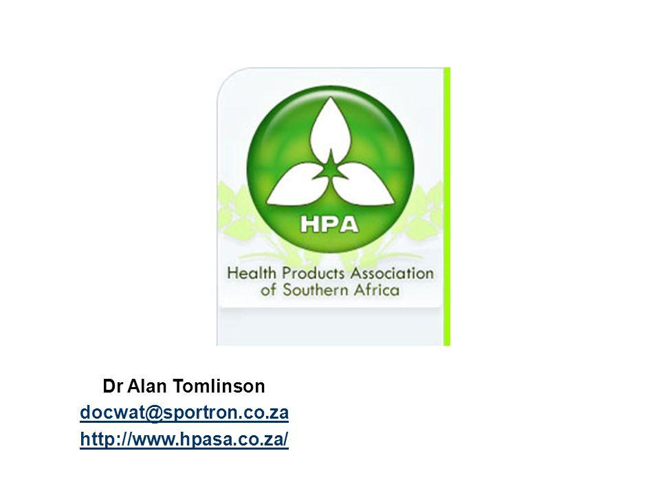 Dr Alan Tomlinson docwat@sportron.co.za http://www.hpasa.co.za/